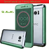 HTC 10 Case, Anoke [Not Wallet] [Shock Absorption] Smart Wake Up / Sleep Quick Ice View Window Case Translucent Silicone and Clear Hard PC Folio Dot View Cover Case For HTC 10 (DOT Green)