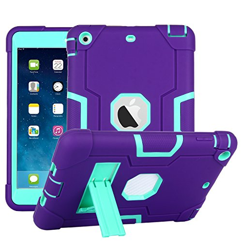 iPad Mini Case, Mini 2 Case, Mini 3 Case, Rugged Kickstand Series - Shockproof Heavy Duty Hybrid Three Layer Armor Defender Kids Child Proof Case Cover for iPad Mini 1/2/3 - Purple Teal