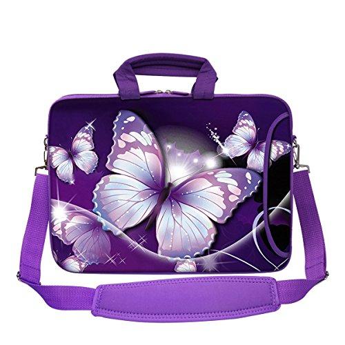Meffort Inc 1539,6cm violett Farbe Passende Neopren-Laptoptasche mit extra Seitenfach, weiche Tragegriffe, abnehmbarer Schultergurt Big Butterfly