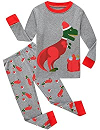 Little Boys Girls' Red Stripe Christmas Pjs Cotton Pajama Sets