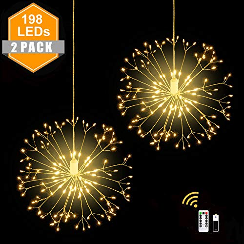 2 Pack 198 LED Firework Copper Wire Lights,8 Modes Dimmable Battery Operated Party Hanging Waterproof Starburst Lights Wedding Christmas Garden Outdoor Indoor Decoration with Remote Control,Warm White