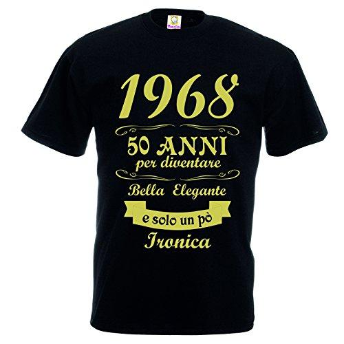 t-Shirt Maglietta Donna Stampa Oro con Frase 1968 50 Anni per Diventare Cosi Bella Elegante e Solo Un Po' Ironica