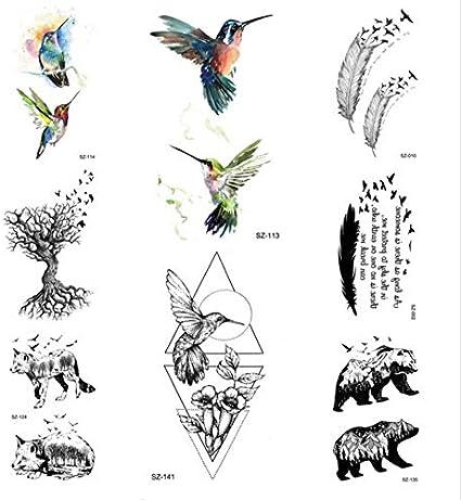 ruofengpuzi Adesivo tatuaggioAcuarela Colibrí Tatuaje Etiqueta ...