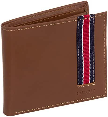 Tommy Hilfiger Men's Leather Fabric Striped Bifold Wallet (Brown)
