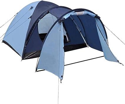 vidaXL Camping Igluzelt 4 Personen Blau Campingzelt Kuppelzelt Familienzelt