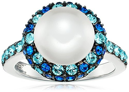 Platinum Plated Sterling Silver Swarovski Crystal Pearl Ring with Swarovski Blue Crystal Ring, Size 6