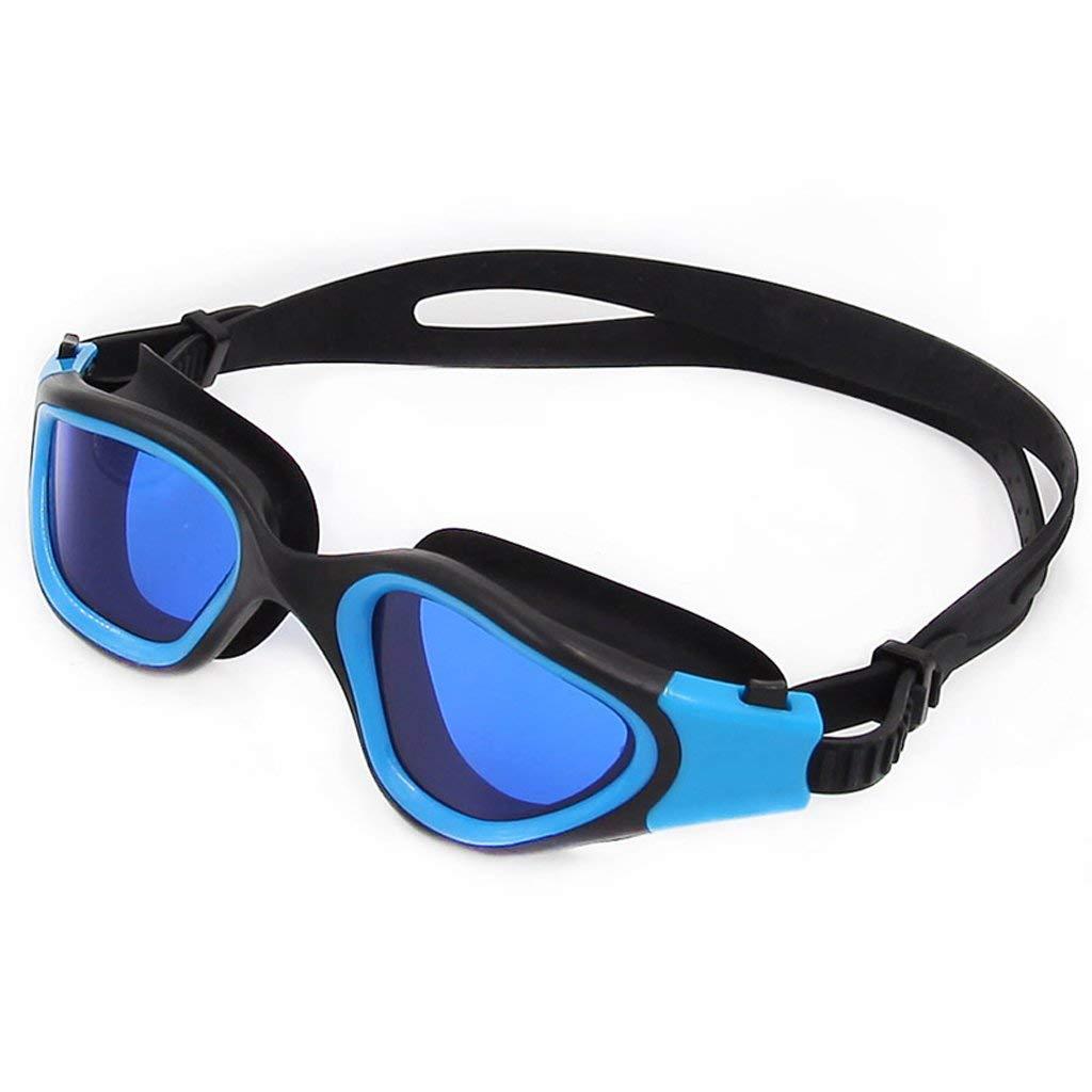 bleu  WYJW Lunettes de natation Lunettes de natation anti-buée imperméables HD, hommes et femmes adultes, plaquant UV (couleur  ROUGE)