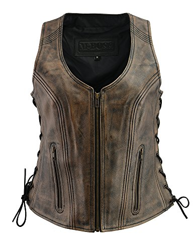 - M Boss Apparel BOS24503 Ladies Black and Beige Leather Side Lace Zipper Front Vest - 3X-Large