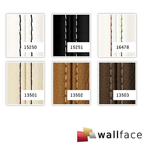 Revestimiento mural Estilo Cuero Costura real en negro WallFace 15250 LEATHER ZN Panel autoadhesivo blanco 2,60 m2: Amazon.es: Bricolaje y herramientas