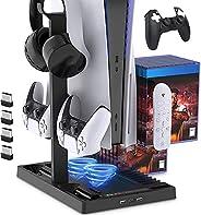 Suporte de carregamento com ventilador de resfriamento para console e controlador de edição digital PS5 / PS5,