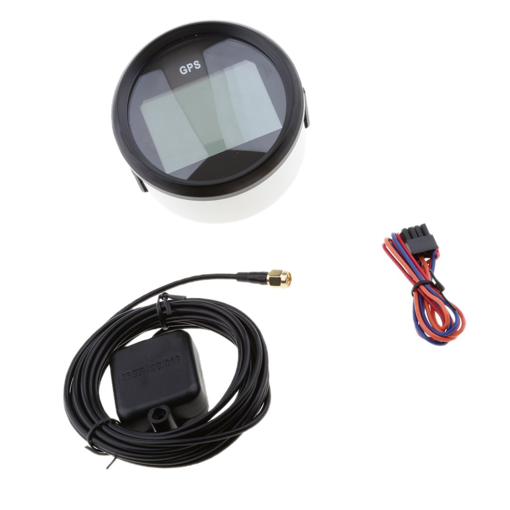 Homyl Waterproof Digital Stainless GPS Speedometer Marine Car Gauge 85mm 316L 12V//24V Black