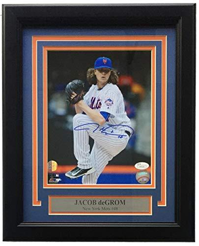 Jacob DeGrom Signed Framed 8x10 New York Mets White Jersey Photo JSA ()