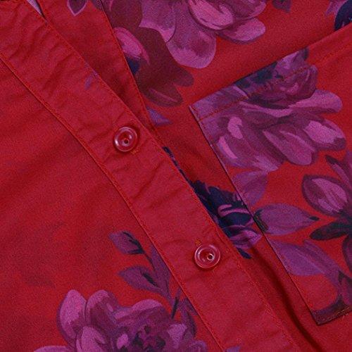 Longues Pull S Floral Mousseline Femmes shirt Rouge V Imprimer 5xl shirts Gilet T Élégant Slim Tops Grande Adeshop À Chic Col Chemise Taille Mode T Chemisier En Manches Haut 4q7xEnv