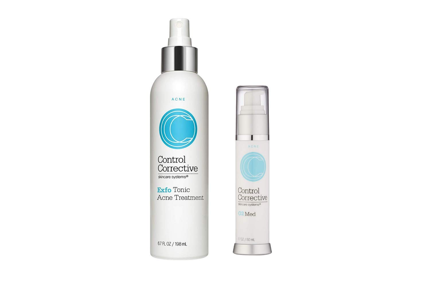 CONTROL CORRECTIVE Exfo Tonic and O2 Med Acne Cream, Reduces Breakouts, Kills Bacteria, Softens Blemishes