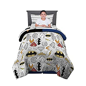 Franco Kids Bedding Comforter and Sheet Set, 4 Piece Twin Size, DC Justice League