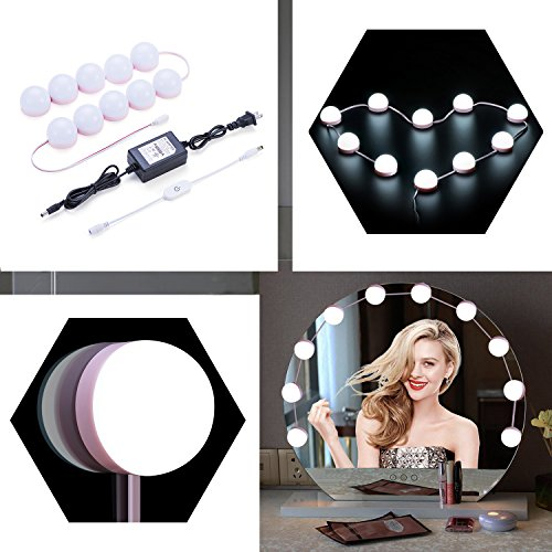 Vanity Mirror Lights, 10 LED Light Bulbs Kit Dimmable Hollywood Style Lighting Fixture for Makeup in Bathroom Dressing ()