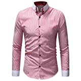 HTHJSCO Men's Slim-Fit Long-Sleeve Shirt, Men's Autumn Winter Casual Striped Print Long Sleeve Button T-Shirt Top Blouse (Pink, L)