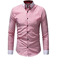 HTHJSCO Mens Slim-Fit Long-Sleeve Shirt, Mens Autumn Winter Casual Striped Print Long Sleeve Button T-Shirt Top Blouse