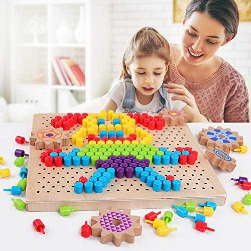 QZM Wooden Jigsaw Puzzle Mosaic Pegboard Game with 250pcs Colorful Mushroom Nails Peg Puzzles 3D Pixel Drawing Picture Creative Game for Kids Toddlers Toys for Boys Girls