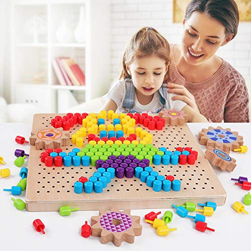 QZM Wooden Jigsaw Puzzle Mosaic Pegboard Game with 250pcs Colorful Mushroom Nails Peg Puzzles 3D Pixel Drawing Picture Creative Game for Kids Toddlers Toys for Boys Girls (Wooden Flower Peg)