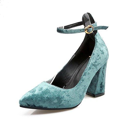 Pelle A Ballet Mucca di Fibbia VogueZone009 Punta Donna Flats Puro Tacco Azzurro Alto Scarpe PEwqUxYx