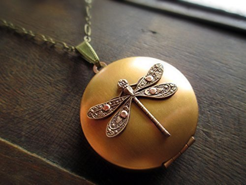 Handmade Steampunk Dragonfly Locket Necklace with Optional Engraving and Free Gift (Locket Free Engraving)
