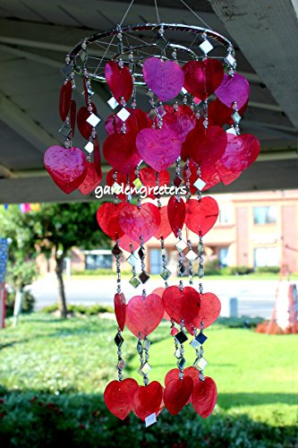 RED HEART CAPIZ SHELL WINDCHIMES CAPIZ CHIMES RED HEART