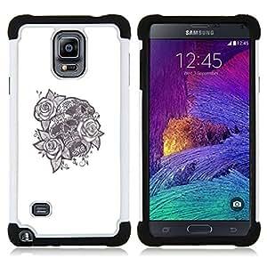 BullDog Case - FOR/Samsung Galaxy Note 4 SM-N910 N910 / - / TATTOO INK SKULL BLACK WHITE ROSE LOVE /- H??brido Heavy Duty caja del tel??fono protector din??mico - silicona suave