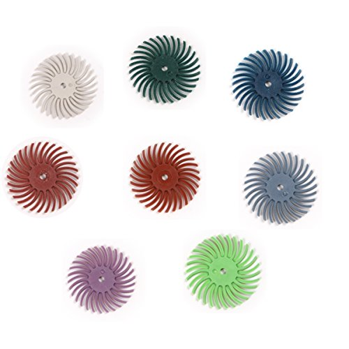 Atoplee 8pcs Grit 80# 120# 220# 320# 400# 600# 1000# 2500# Radial Bristle Disc Brushes for - Grain Diameter 220