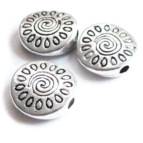 Heather's cf 67 Pieces Silver Tone Pattern Flat Beads Findings Jewelry Making 10X3mm