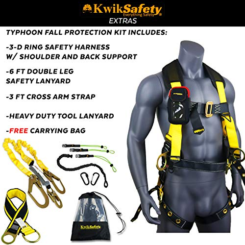 KwikSafety (Charlotte, NC) TYPHOON KIT | 3D Full Body Tongue Buckle w/Back Support Safety Harness, Bolt Pouch, 6' Lanyard, Tool Strap, 3' Anchor ANSI PPE Fall Protection Equipment Construction Bucket by KwikSafety (Image #2)