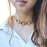 Chicer Fashion Choker Necklace with Annulus for Women and Girls (Gold).