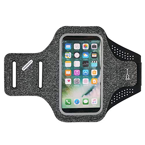 Universal Reflective Running Armband Compatible with Apple iPhone Xs Max / 8 7 Plus/LG V40 ThinQ/Stylo 4 / HTC U12+ / Huawei P20 Pro/Nokia 7 Plus/OnePlus 6 / BlackBerry Motion (Black)