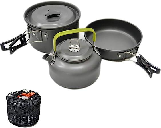 JZK Utensilios Cocina Camping 2-3 Persona Aluminio Utensilios de Acampada ollas sartén teapot para Camping Campamento Senderismo Itinerante Aire Libre ...