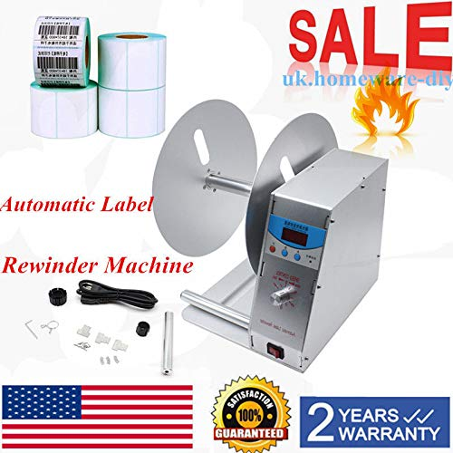 Label Rewinder Machine, Adjustable Speed Digital Automatic Label Rewinder Tags Industry Electric Labeling AC110V US Stock