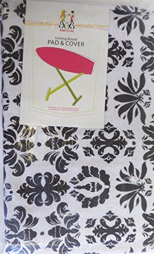 Ironing Board Cover & Pad - Floral Stripes Scroll Fleur De Lis Iron (Black Iron Board Cover compare prices)