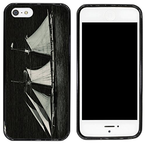 Black Sailboat (Rikki Knight Cell Phone Case for Apple iPhone 5/5s - Black - Sailboat On Sea)