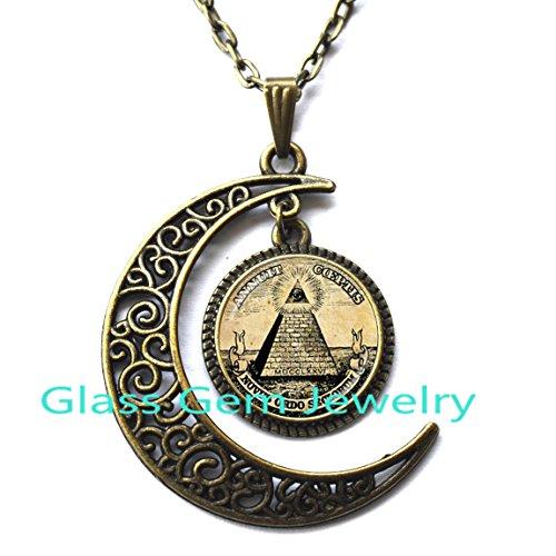 MoonNecklaceMoonPendant,Annuit Coeptis Pendant Egypt Pyramid Necklace Eye of Providence Masonic Illuminati Masonic Sign Sacred Geometry Necklace,Q0272