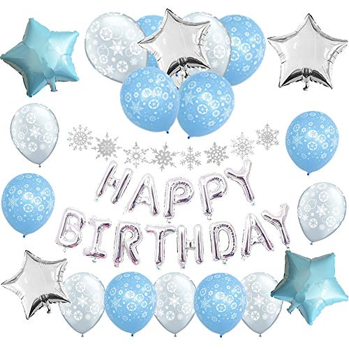 Winter Onederland 1st Birthday Decorations Pack:1 Silver Happy Birthday Banner,8 Glitter silver hanging snowflake, Blue Balloons,Frozen Party Supplies and Favors for Kids Boys 2nd 3rd 4th Bday Decor,Photo Prop for Wonderland Party -
