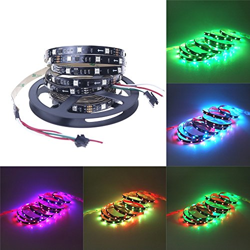 Alarmpore TM 16.4FT WS2811 Led Strip, Programmable and Addressable, 5050 Digital RGB LED Strip 5M 150LEDs Not Waterproof Dream Magic Color 12V Led Rope Tape 30LEDs/m Black PCB