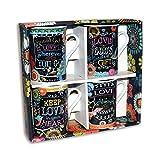 Divinity Boutique 23676 Chalk Bird Mug-4 Pack, Multicolor