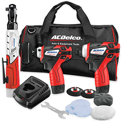 ACDelco Cordless Li-ion 12V MAX 3-Piece Your Complete Tool Kit with G12 Series Polisher, Impact Driver, and Ratchet Wrench - ARZ1212-1