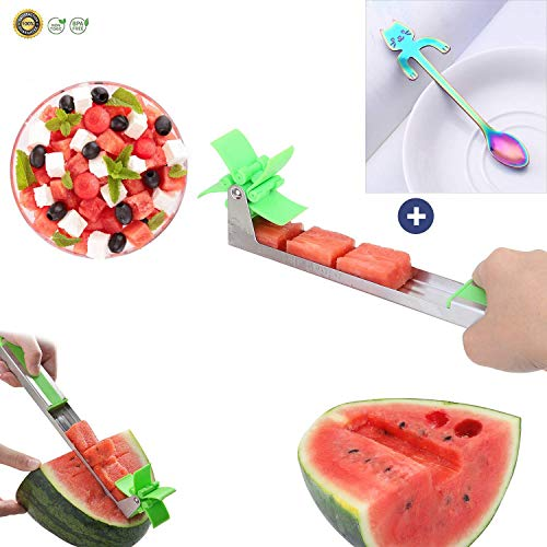 (Coo Qi Watermelon Slicer - Melon and Cantaloupe Fruit Slicer, Carver, Cutter, Knife,Carving and Cutting Tools for Home, Easy Grip Kitchen)