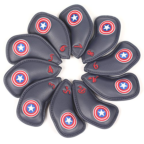 Volf Golf 10pcs Captain America Style Thick Synthetic Leather Golf Iron Head Covers Set Headcover Fit All Brands Titleist, Callaway, Ping, Taylormade, Cobra, Nike, Etc. ... (Navy Blue)