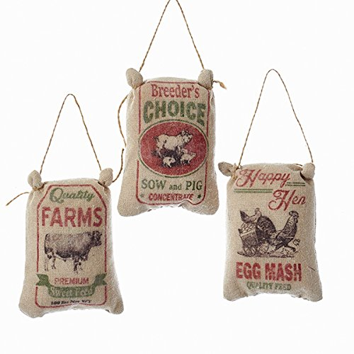 VINTAGE FEED SACK ORNAMENT - 3 ASSORTED