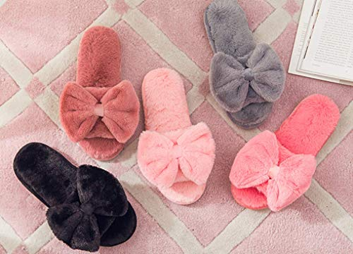 Open Bows Cute Pink Plush Slippers House Slippers C'wait Womens Big Toe Indoor qRanSwnzCE