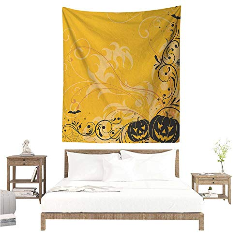 WilliamsDecor Bedroom Tapestry Halloween Carved Pumpkins with Floral Patterns Bats and Web Horror Jack o Lantern Artwork 60W x 80L INCH Suitable for Bedroom Living Room Dormitory ()