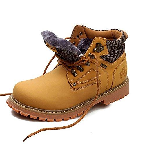 Rismart Menns Komfort Slitesterk Arbeidsankelstøvler God Kvalitet Bekjempe Støvler Motorsykkel Støvler Varm Pels Foret Gul 757 Us10