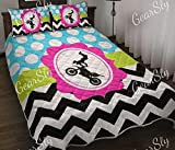 Motocross in The Center Ziczac Quilt Twin Size