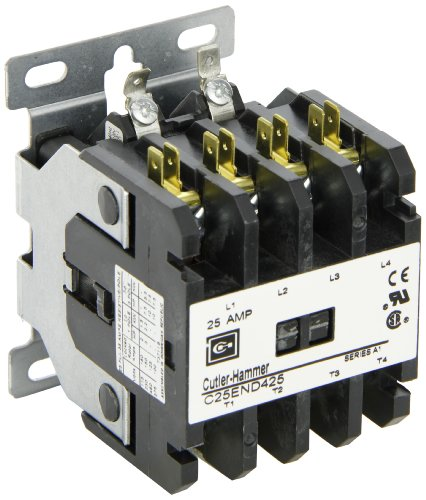 480vac Contactor Single Coil Pole (Eaton C25END425A Definite Purpose Contactor, 50mm, 4 Poles, Screw/Pressure Plate, Quick Connect Side By Side Terminals, 25A Current Rating, 2 Max HP Single Phase at 115V, 7.5 Max HP Three Phase at 230V, 10 Max HP Three Phase at 480V, 120VAC Coil Voltage)